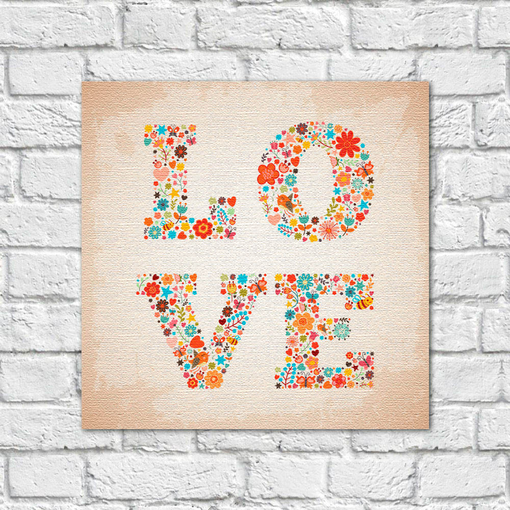 Quadro Decorativo Love Floral