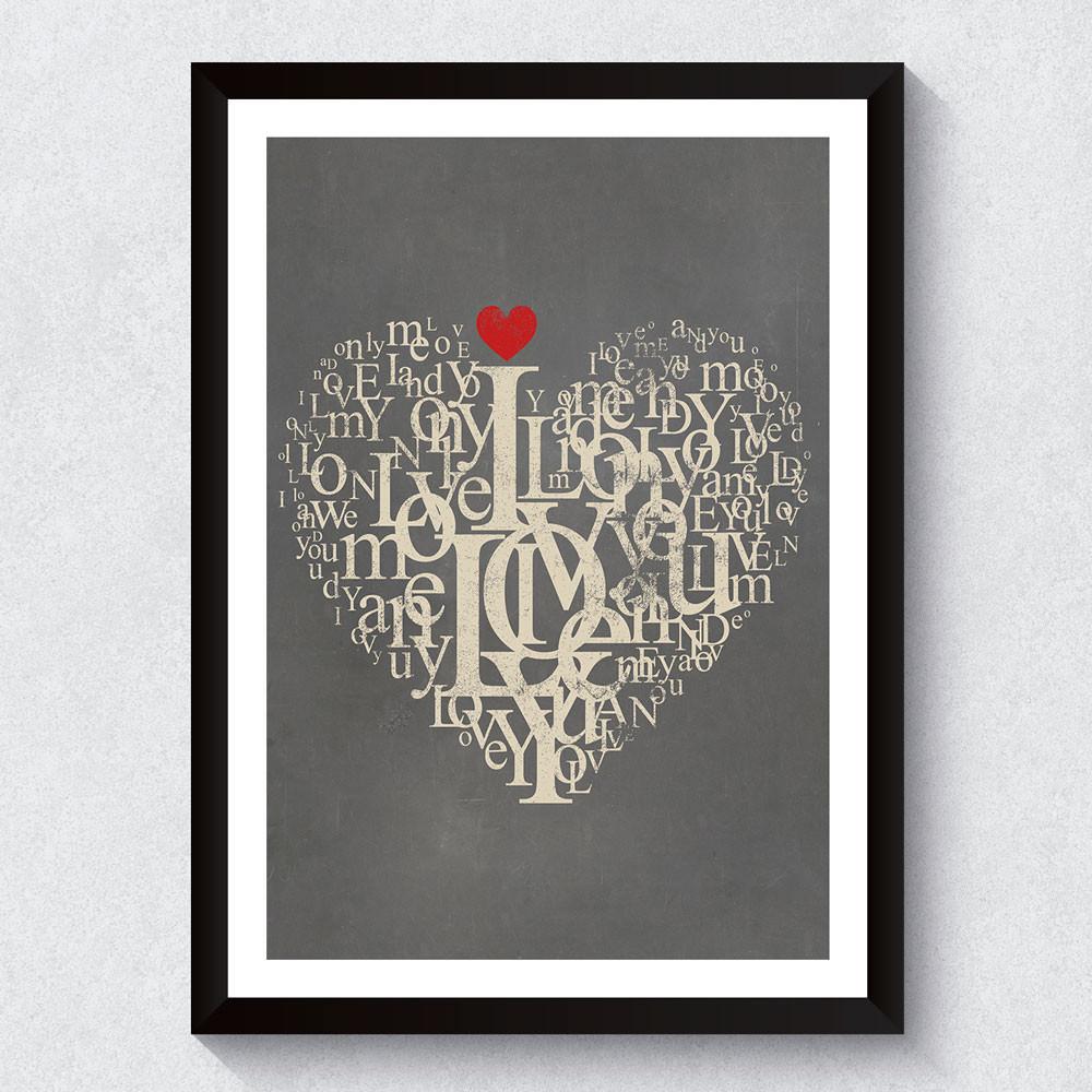 Quadro Decorativo Love Tipografia