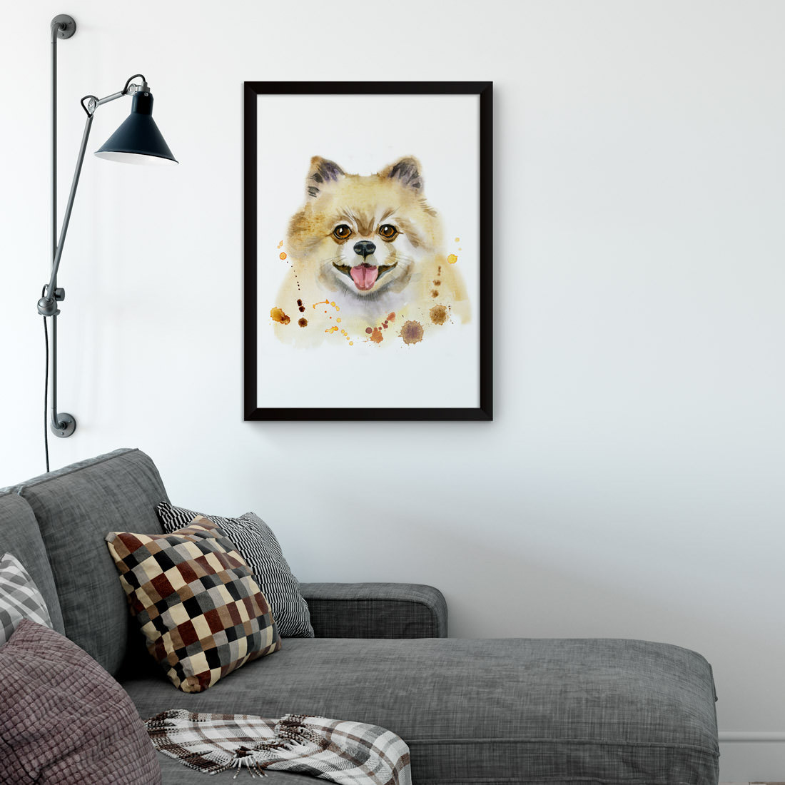 Quadro Decorativo cachorro Spitz Alemão Aquarela