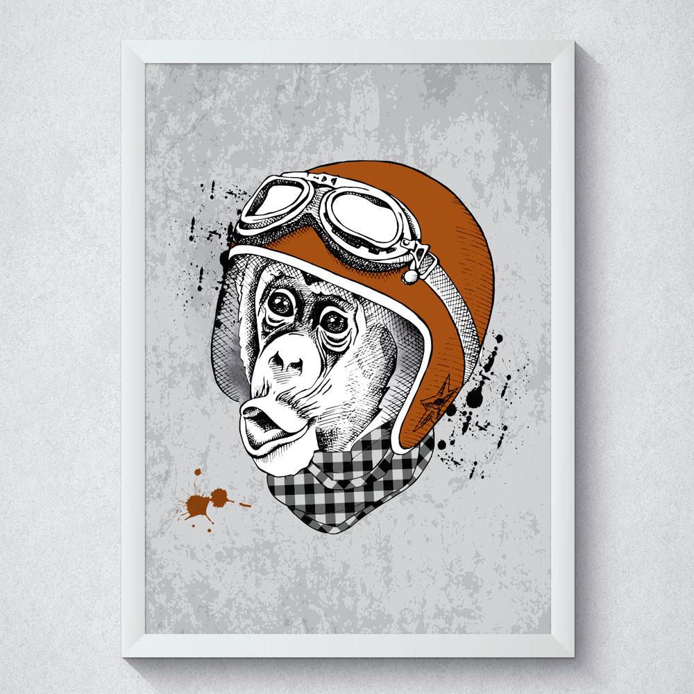 Quadro Decorativo Macaco Com Moldura Branca