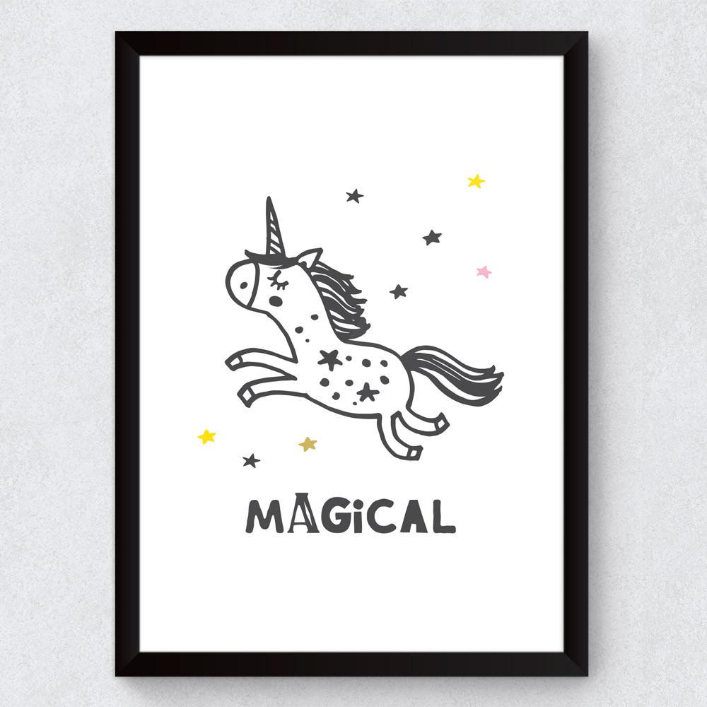 """Quadro Decorativo Infantil Unicórnio """"Magical"""""""