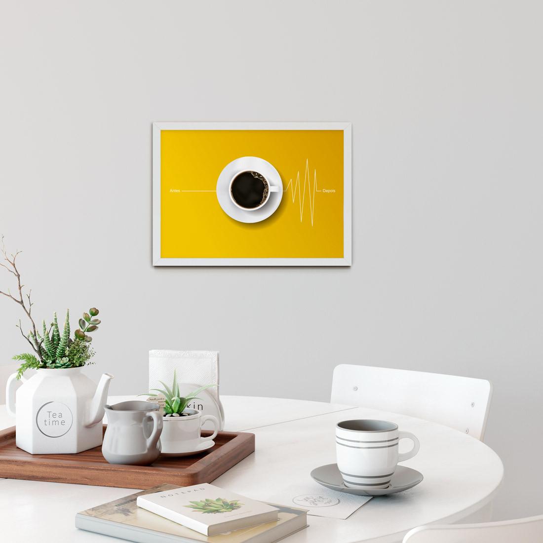 Quadro Decorativo Minimalista Antes e Depois do Café - Amarelo