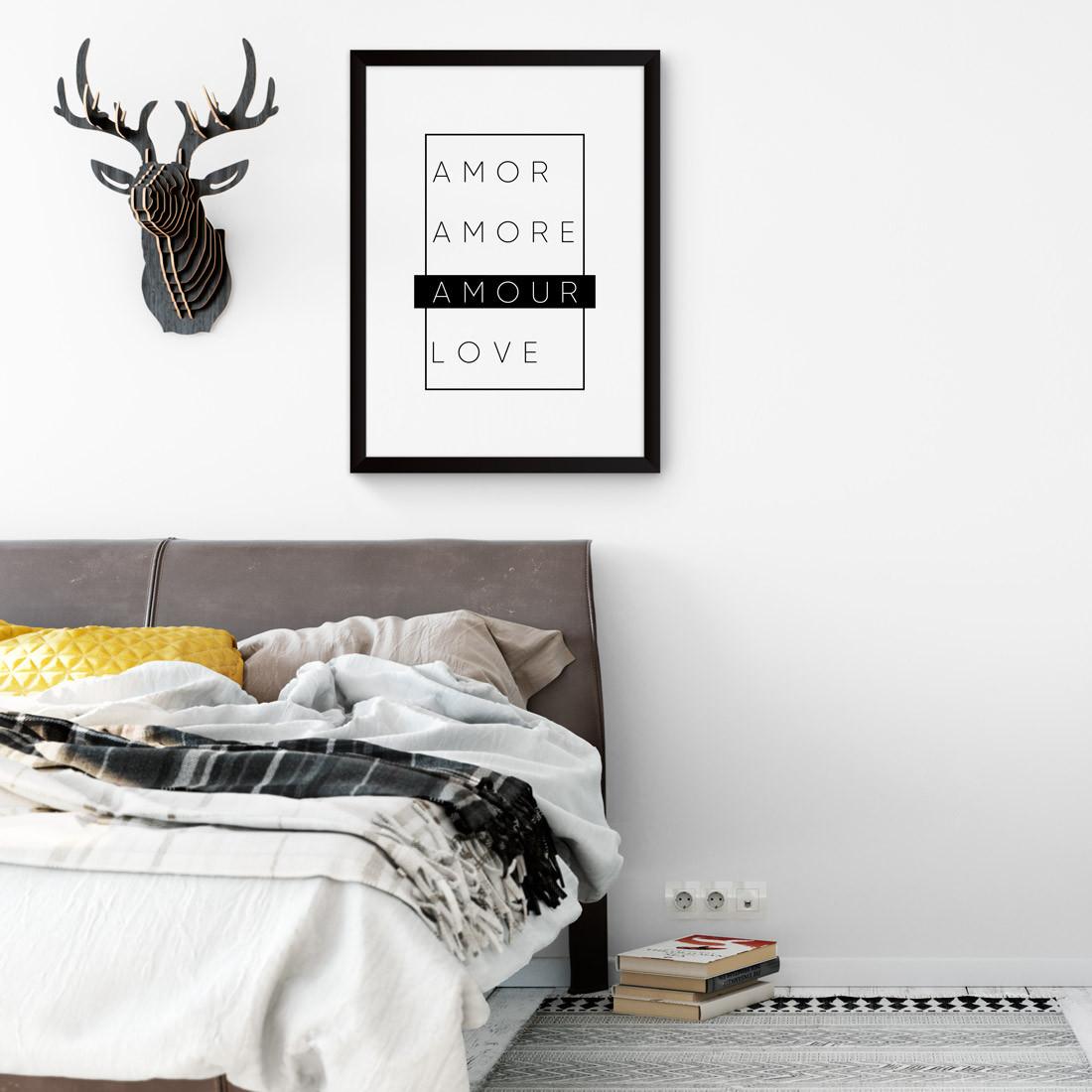 Quadro Decorativo Amour Preto e Branco