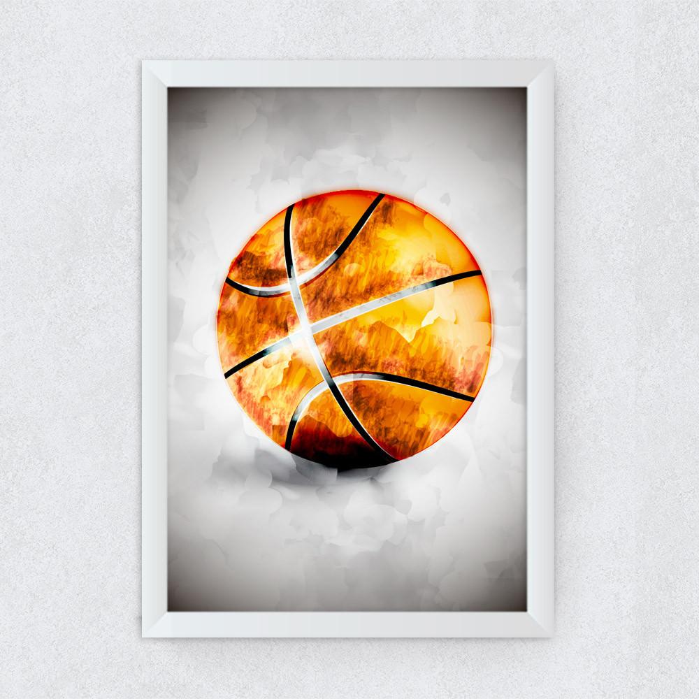 Quadro Decorativo Bola de Basketball Aquarela