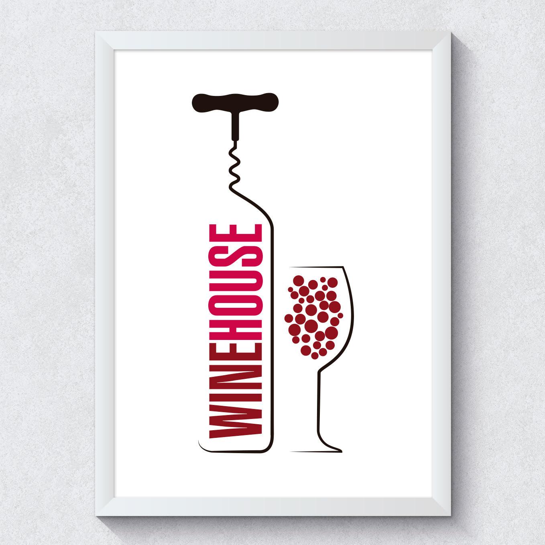 Quadro Decorativo Wine House Fundo Branco