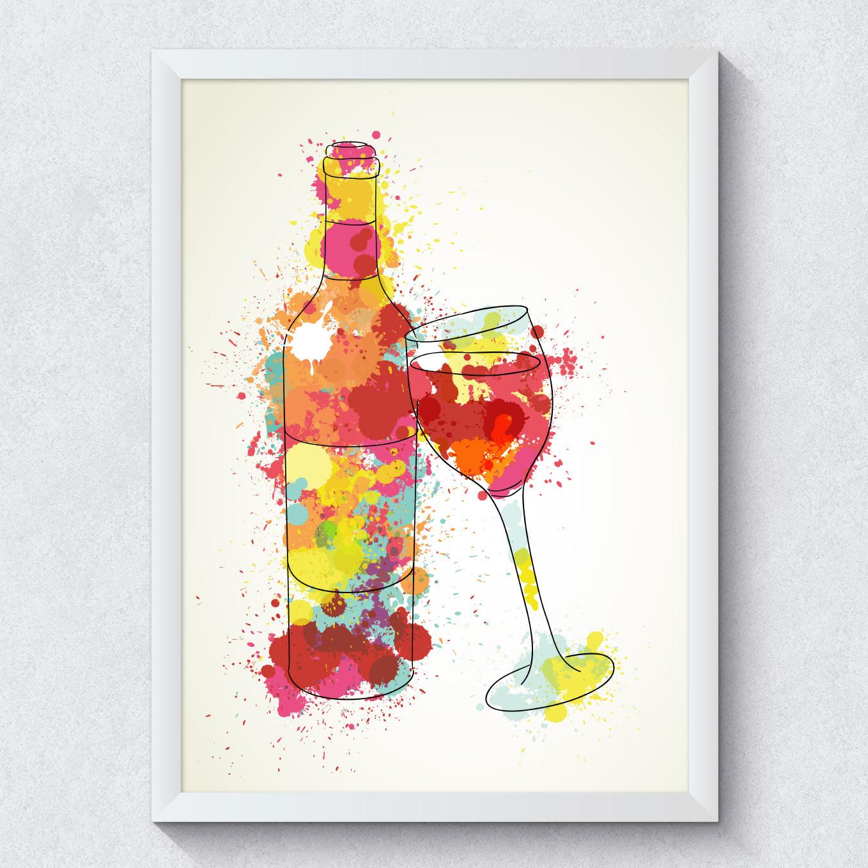 Quadro Decorativo Garrafa de Vinho Taça