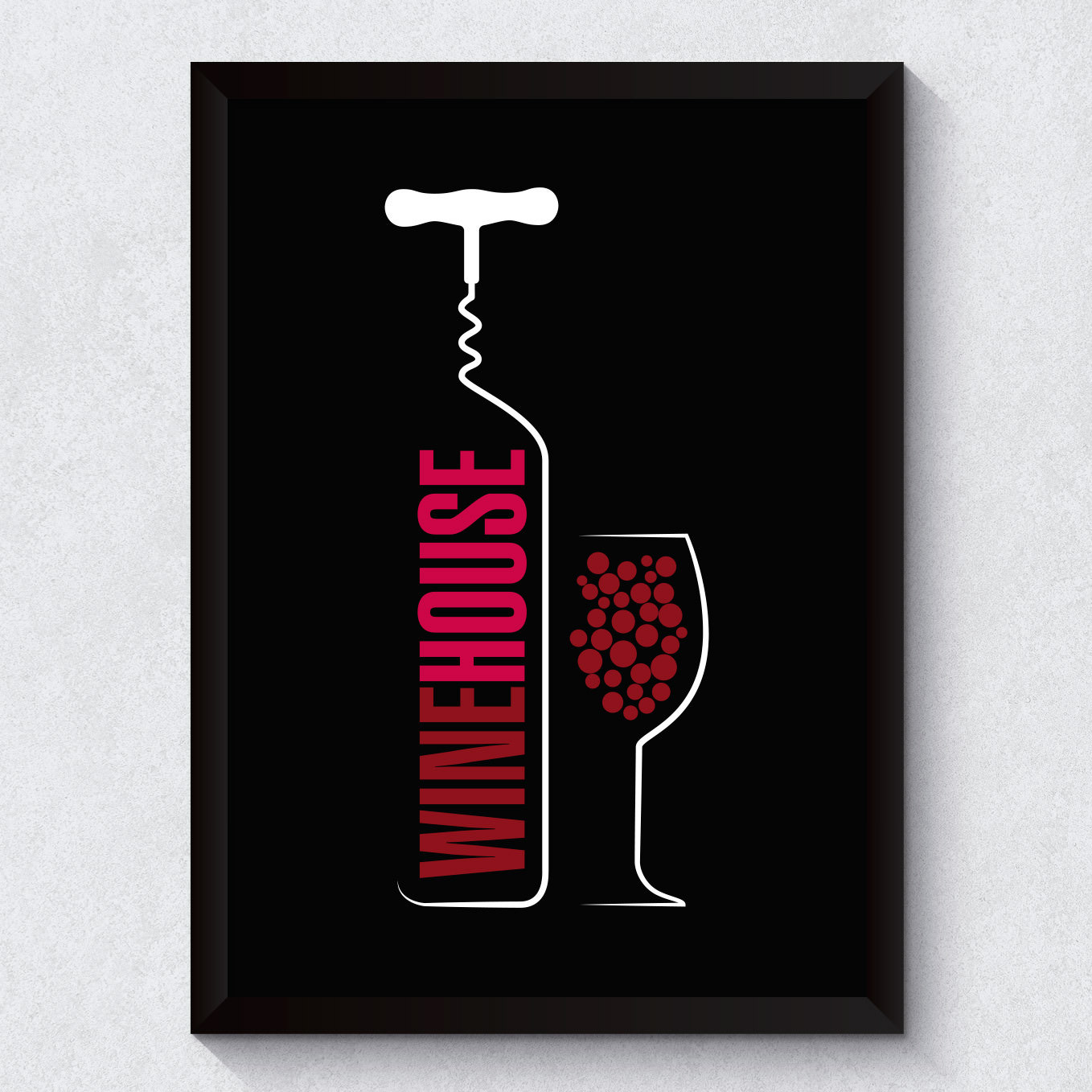 Quadro Decorativo Wine House Fundo Preto