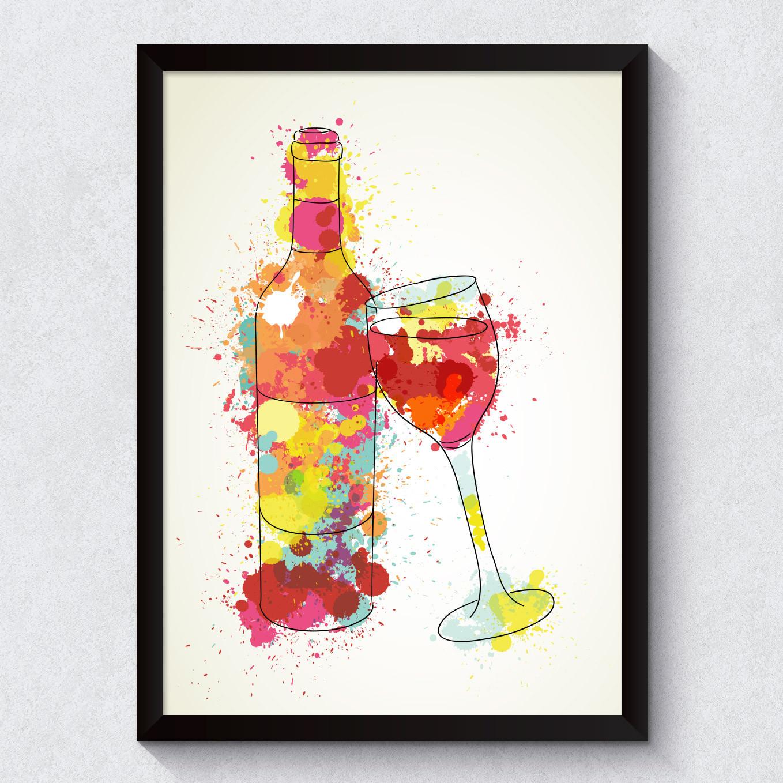 Quadro Decorativo Garrafa de Vinho Wine