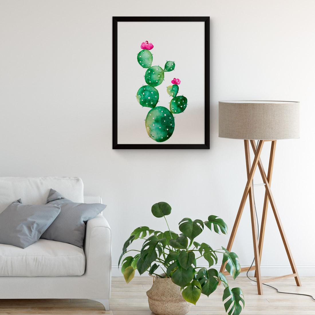 Quadro Decorativo Cacto Palma aquarela