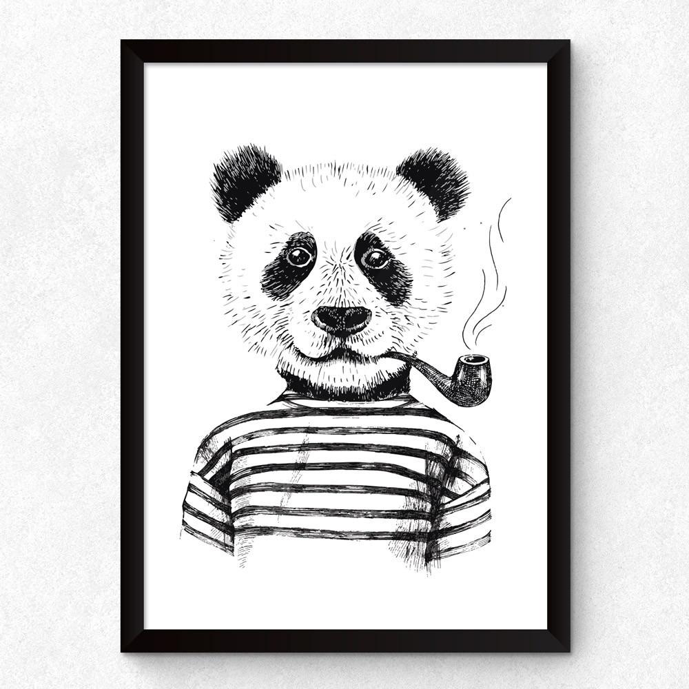 Quadro Decorativo Panda Hipster