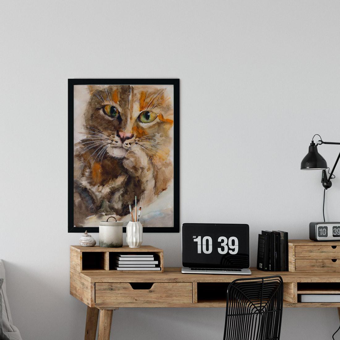 Quadro Decorativo Gato Pintado