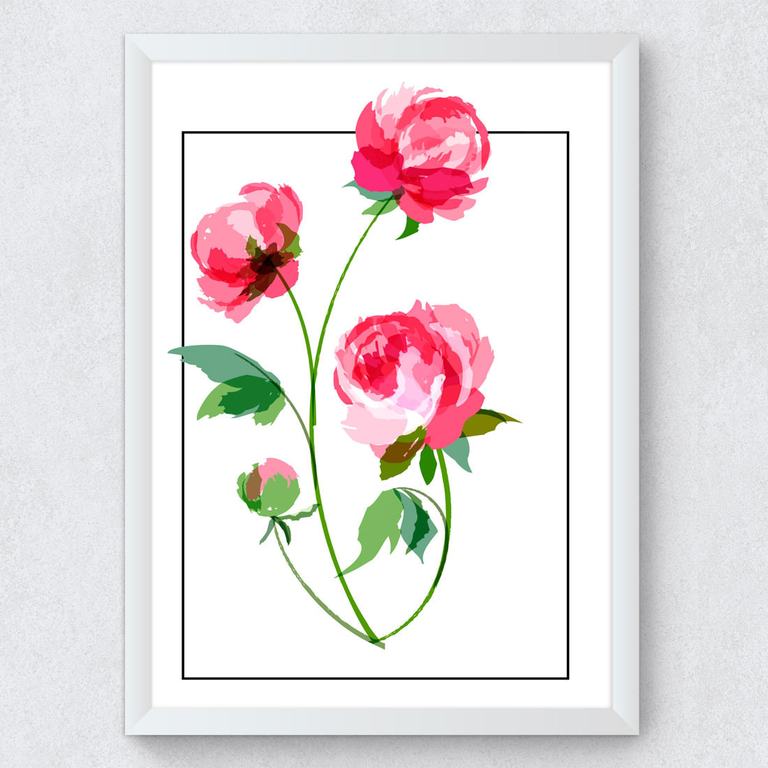 Quadro Decorativo Peônias Rosas