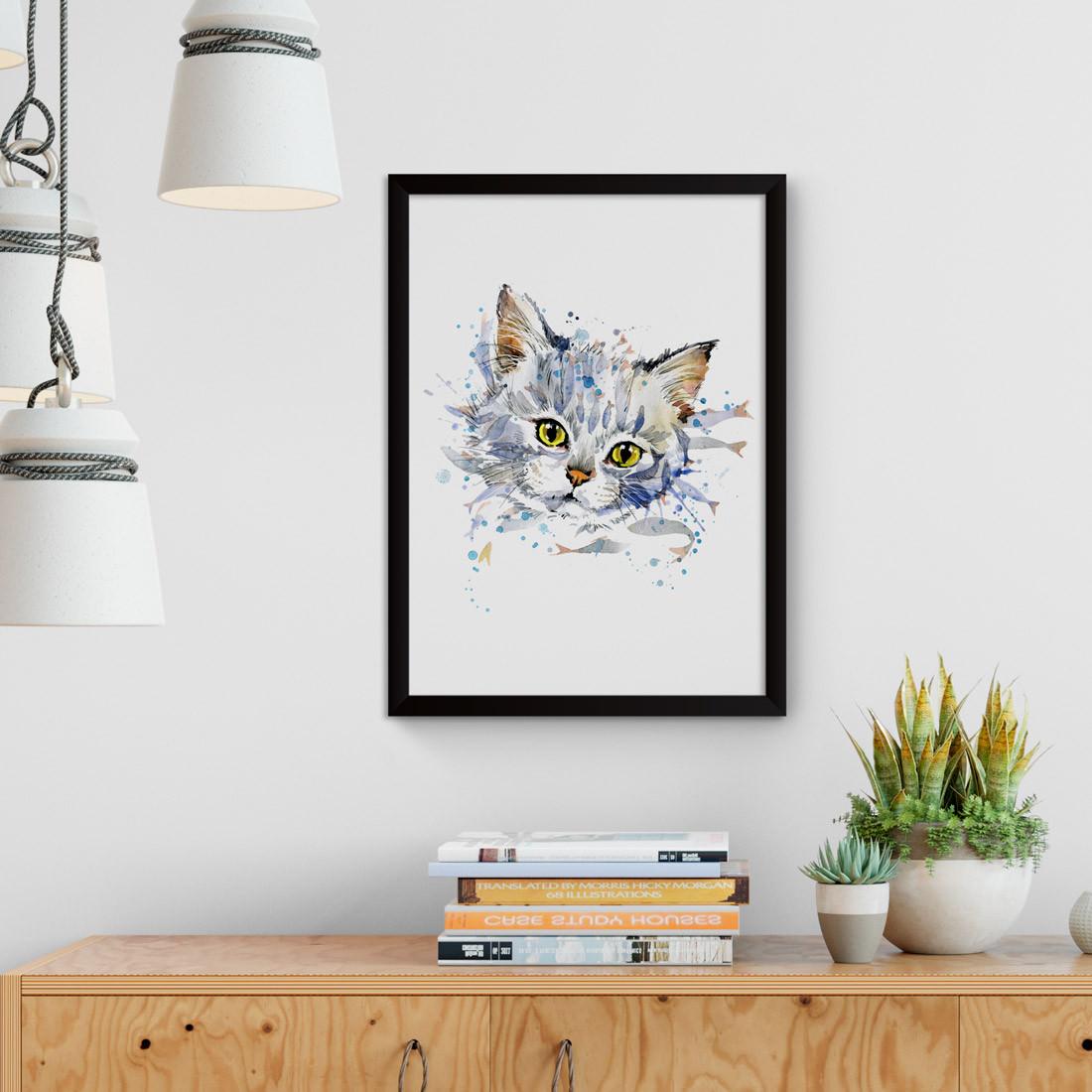 Quadro Decorativo Cat Branco Aquarela