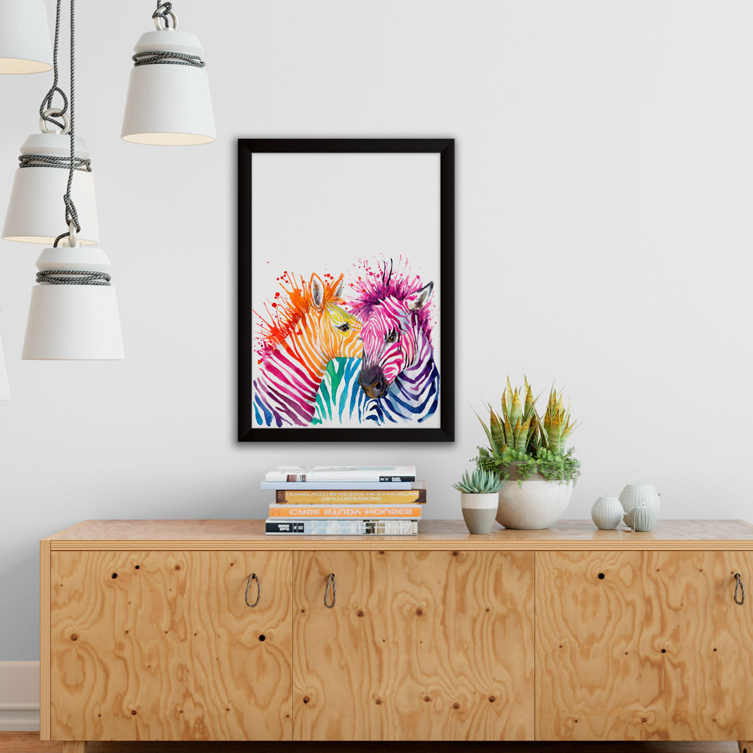 Quadro Decorativo Zebras Aquarela