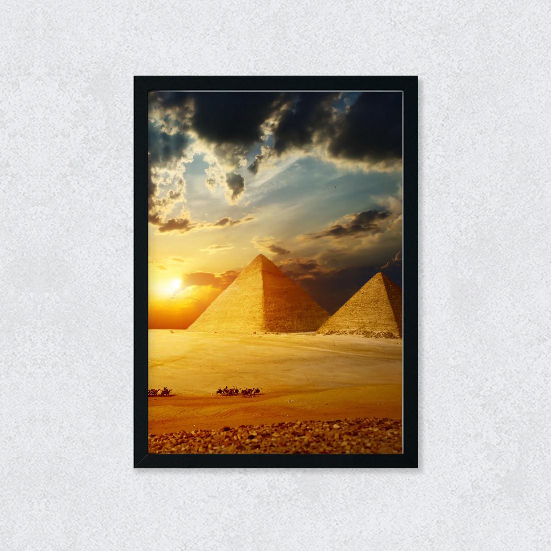 Quadro Decorativo Pirâmides Egito Por do Sol