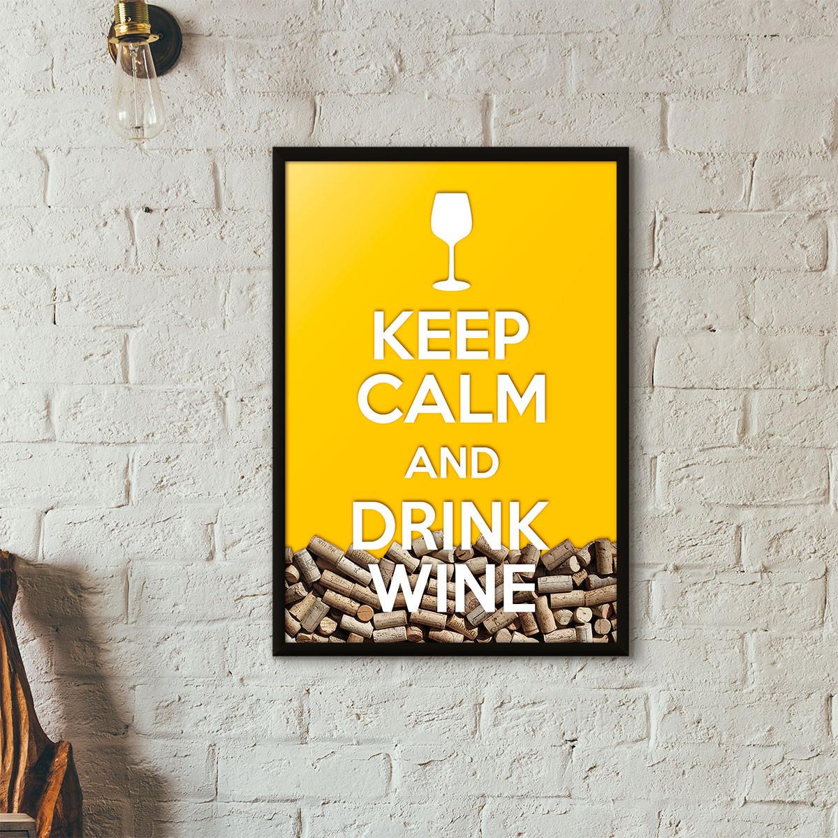 """Quadro Porta Rolhas de Vinho - """"Keep Calm And Drink Wine"""" (Moldura Preta) - Fundo Amarelo"""