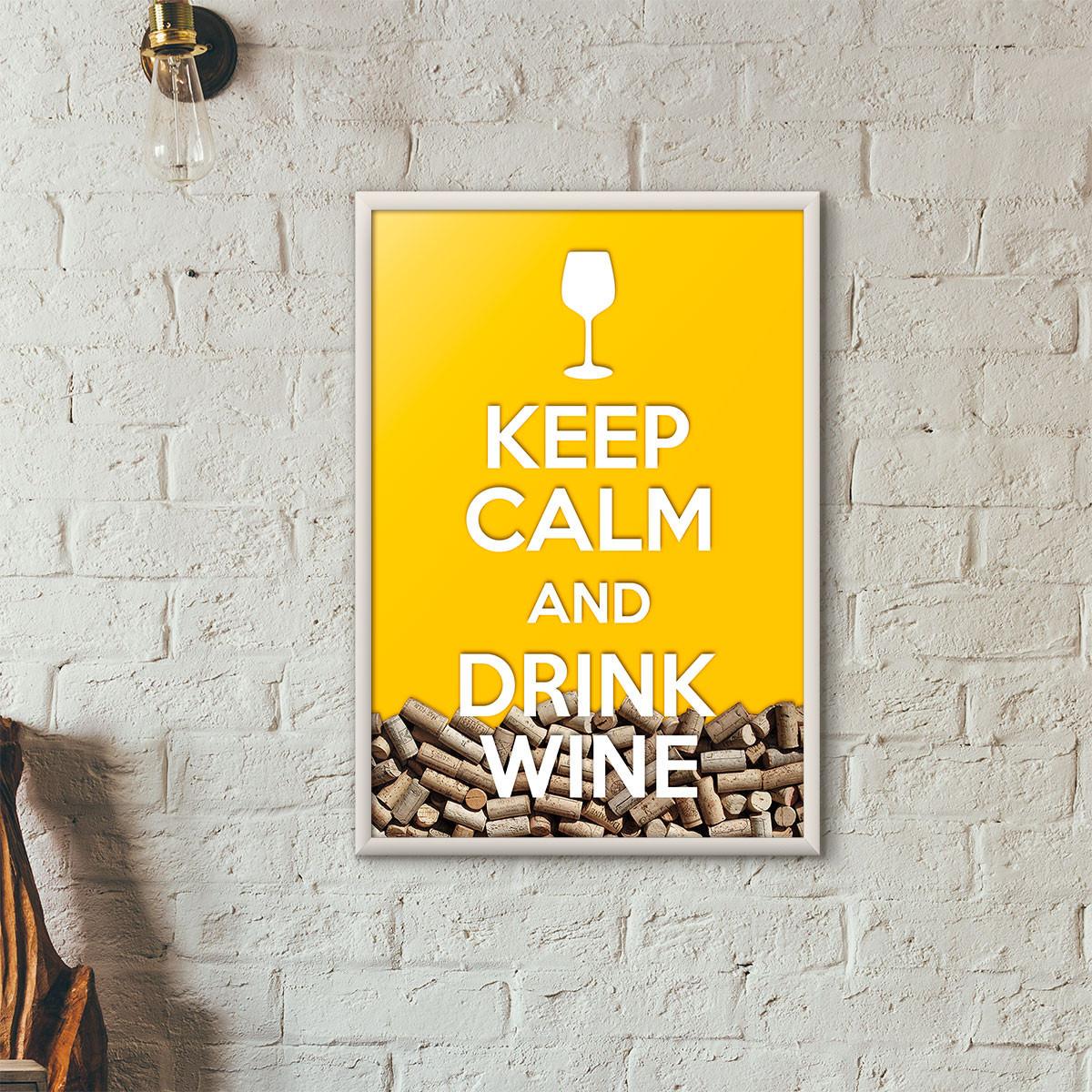 """Quadro Porta Rolhas de Vinho - """"Keep Calm And Drink Wine"""" (Moldura Branca) - Fundo Amarelo"""