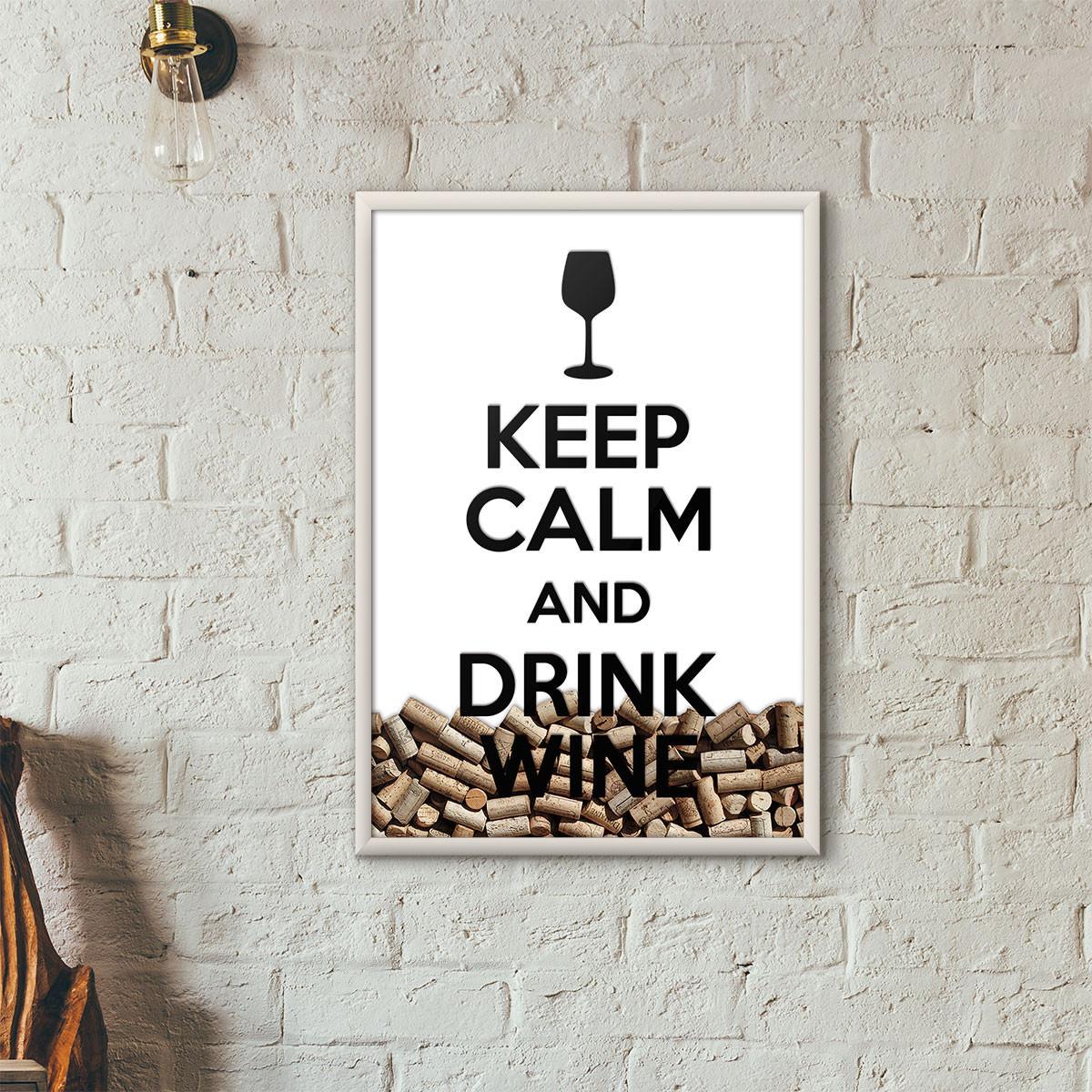 """Quadro Porta Rolhas de Vinho - """"Keep Calm And Drink Wine"""" (Moldura Branca) - Fundo Branco"""