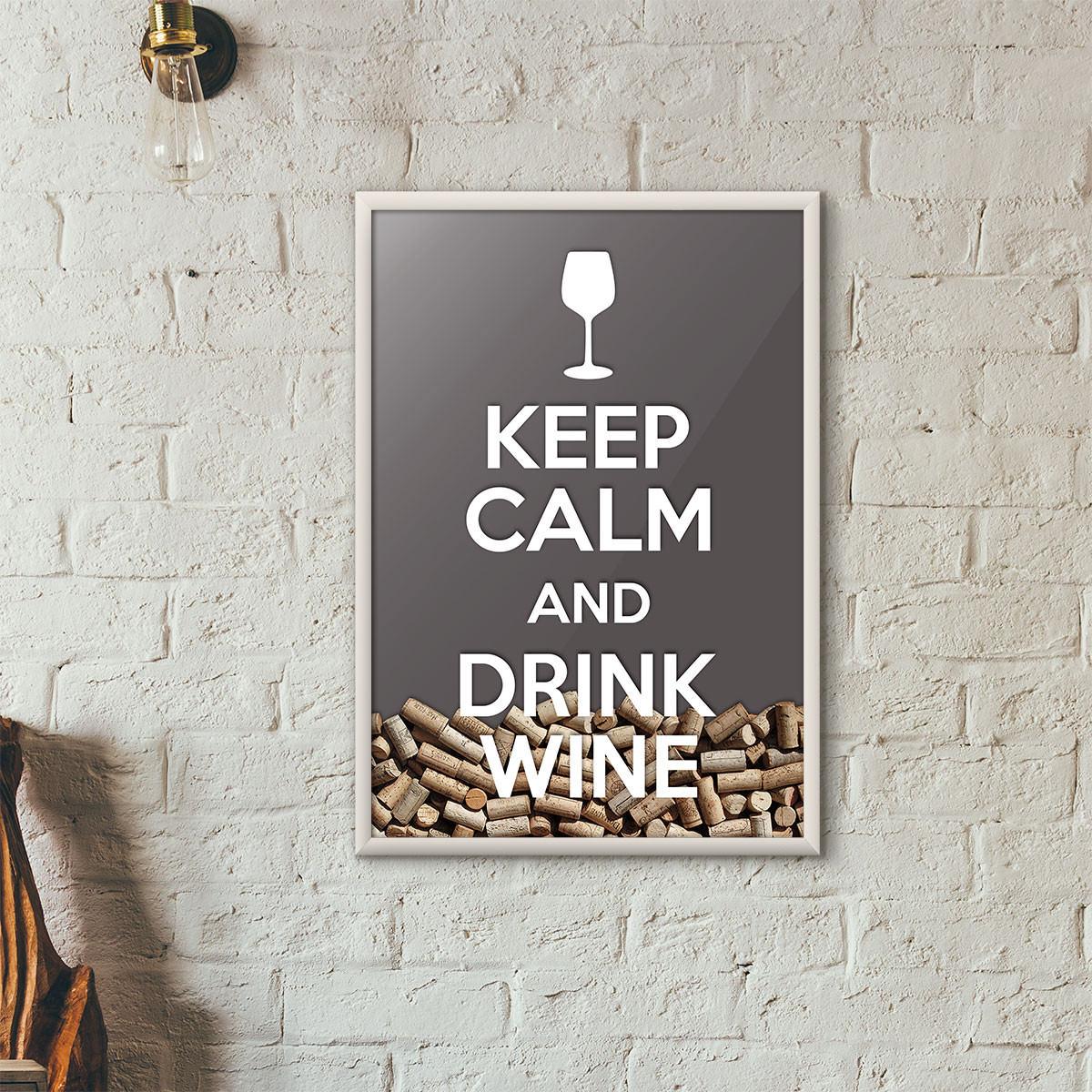 """Quadro Porta Rolhas de Vinho - """"Keep Calm And Drink Wine"""" (Moldura Branca) - Fundo Cinza"""