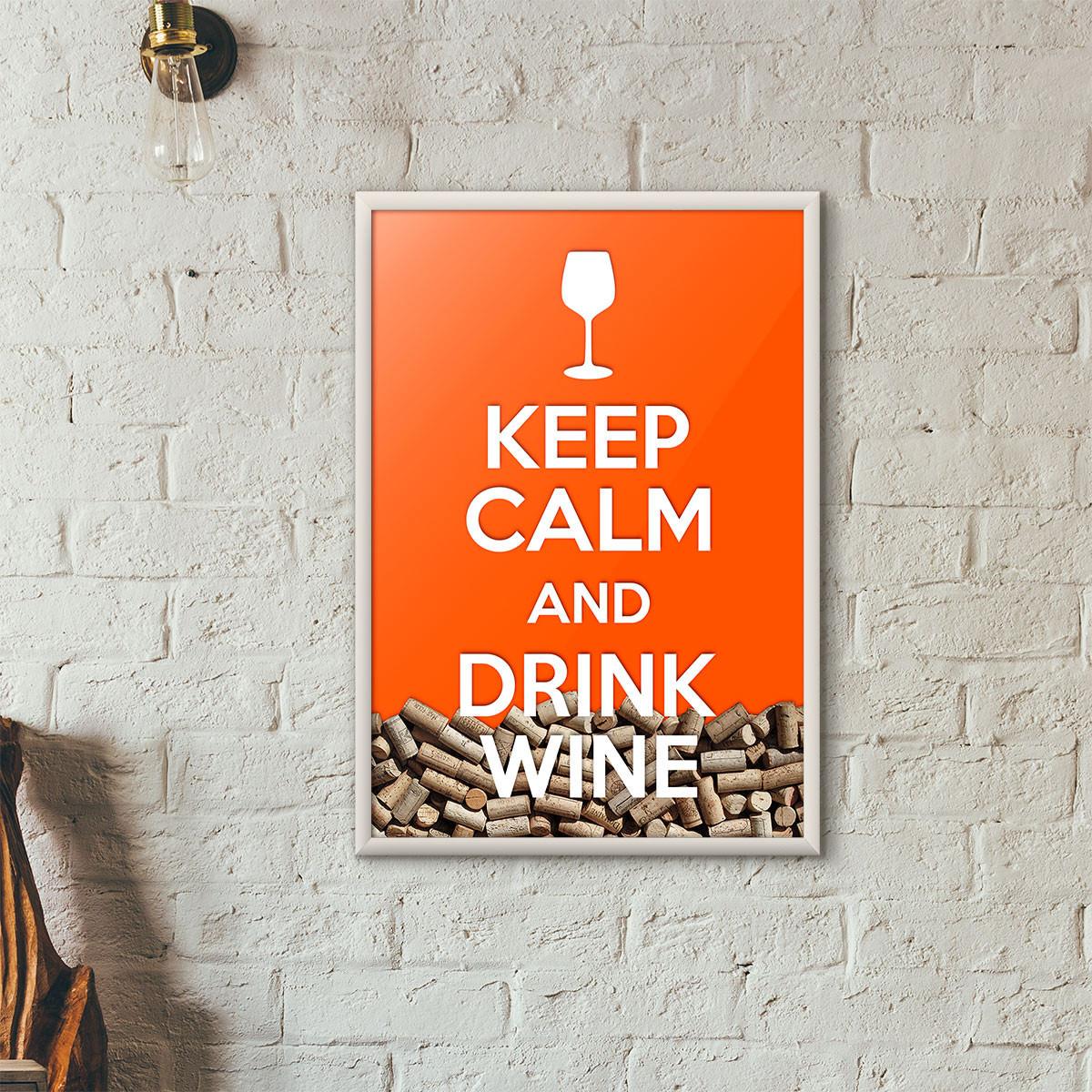 """Quadro Porta Rolhas de Vinho - """"Keep Calm And Drink Wine"""" (Moldura Branca) - Fundo Laranja"""