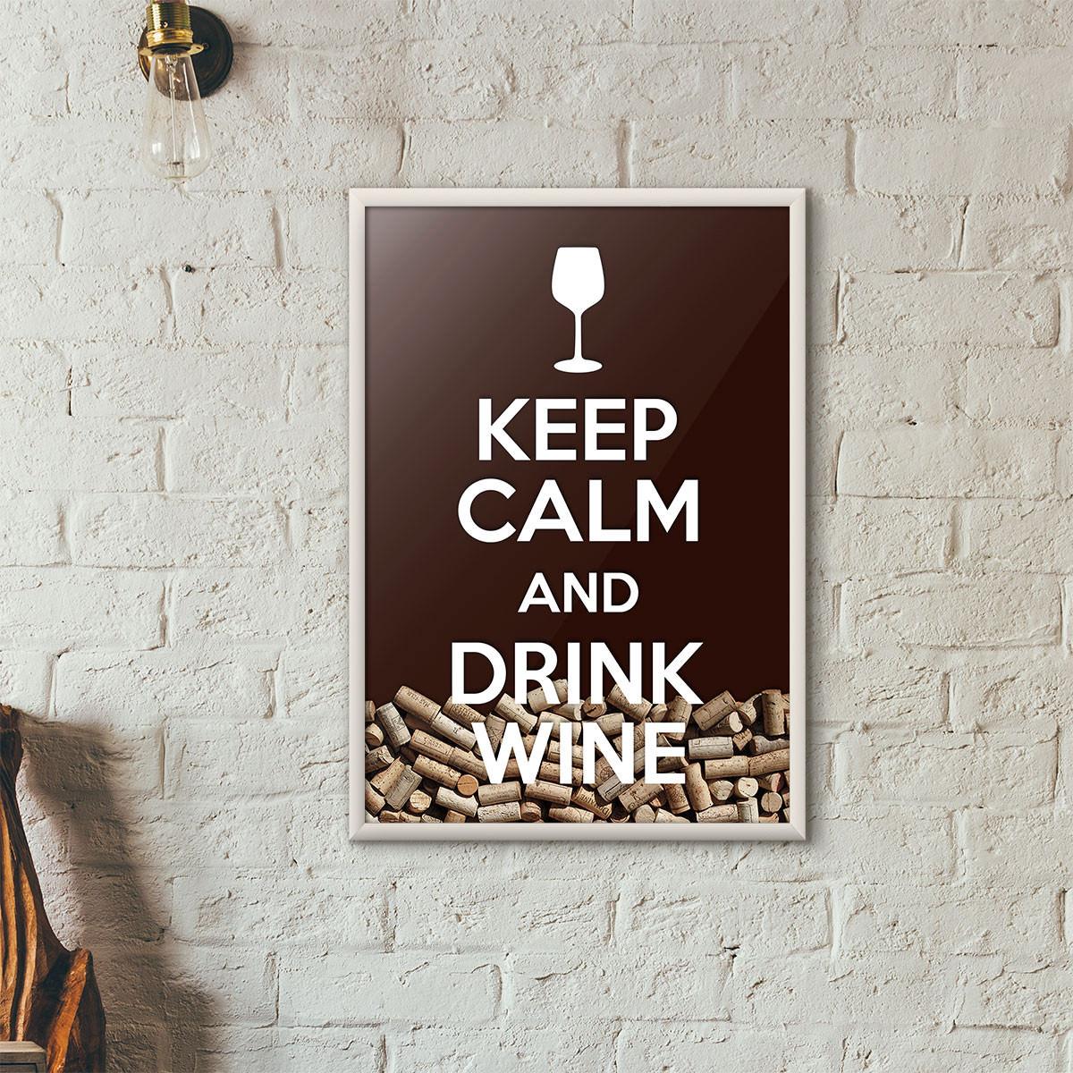 """Quadro Porta Rolhas de Vinho - """"Keep Calm And Drink Wine"""" (Moldura Branca) - Fundo Marrom"""