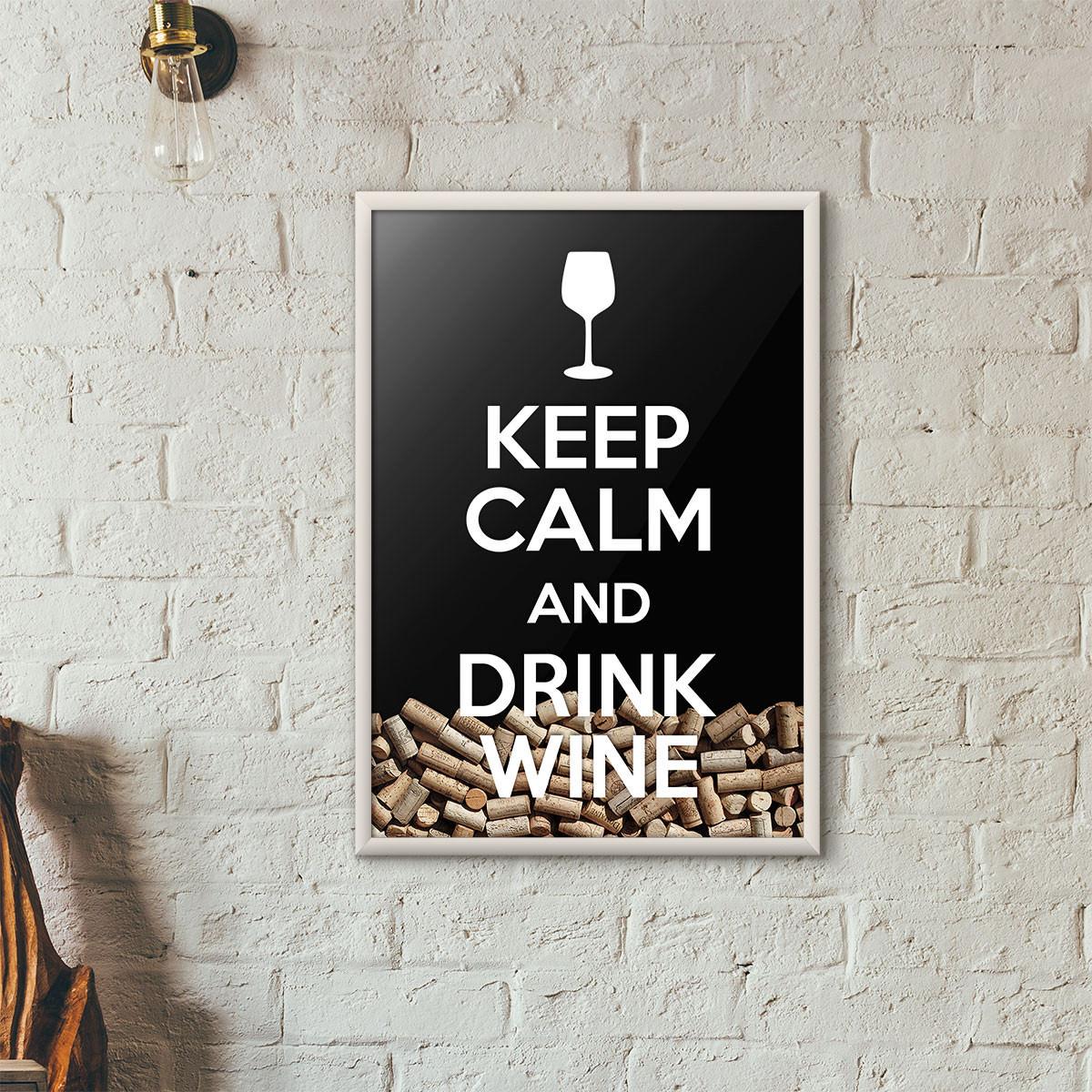 """Quadro Porta Rolhas de Vinho - """"Keep Calm And Drink Wine"""" (Moldura Branca) - Fundo Preto"""