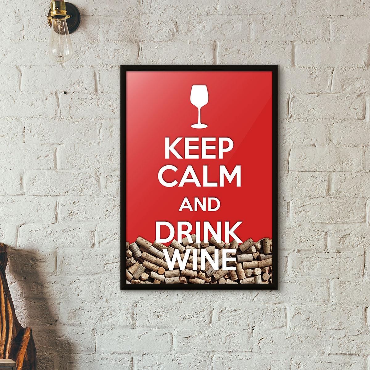 """Quadro Porta Rolhas de Vinho - """"Keep Calm And Drink Wine"""" (Moldura Preta) - Fundo Vermelho"""