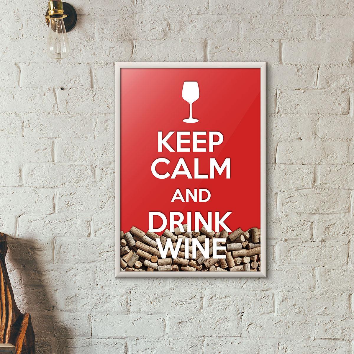 """Quadro Porta Rolhas de Vinho - """"Keep Calm And Drink Wine"""" (Moldura Branca) - Fundo Vermelho"""