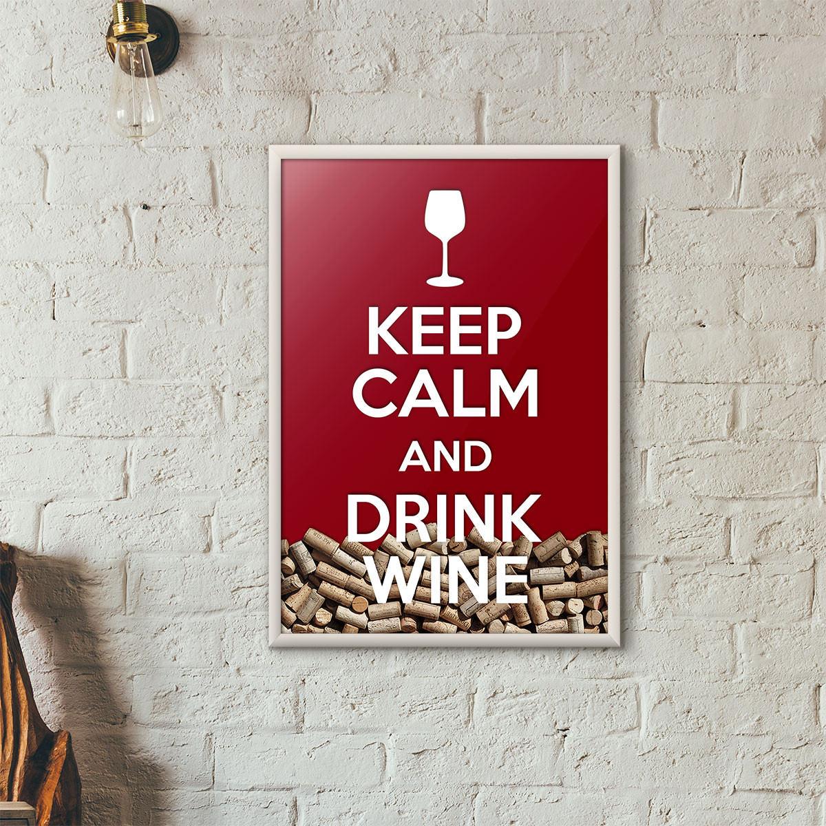 """Quadro Porta Rolhas de Vinho - """"Keep Calm And Drink Wine"""" (Moldura Branca) - Fundo Vinho"""