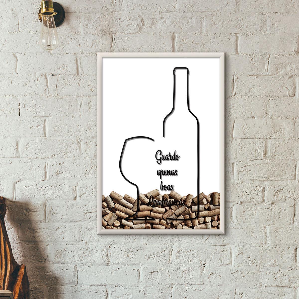 """Quadro Porta Rolhas de Vinho - """"Guardo Apenas Boas Lembranças"""" (Moldura Branca) - Fundo Branco"""