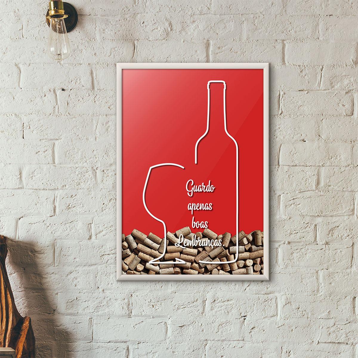 """Quadro Porta Rolhas de Vinho - """"Guardo Apenas Boas Lembranças"""" (Moldura Branca) - Fundo Vermelho"""