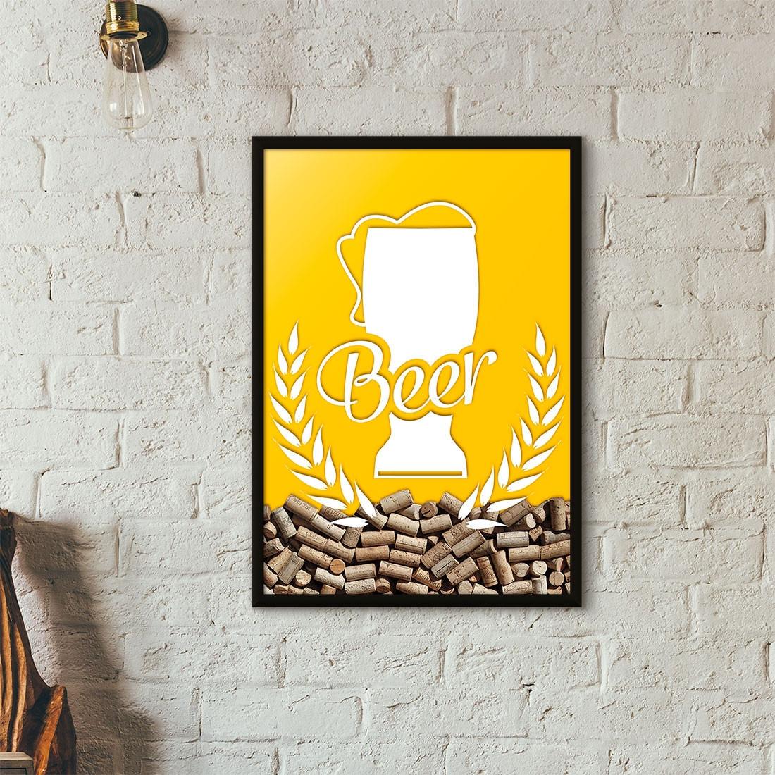Quadro Porta Tampinhas de Cerveja - Tulipa Beer - Amarelo