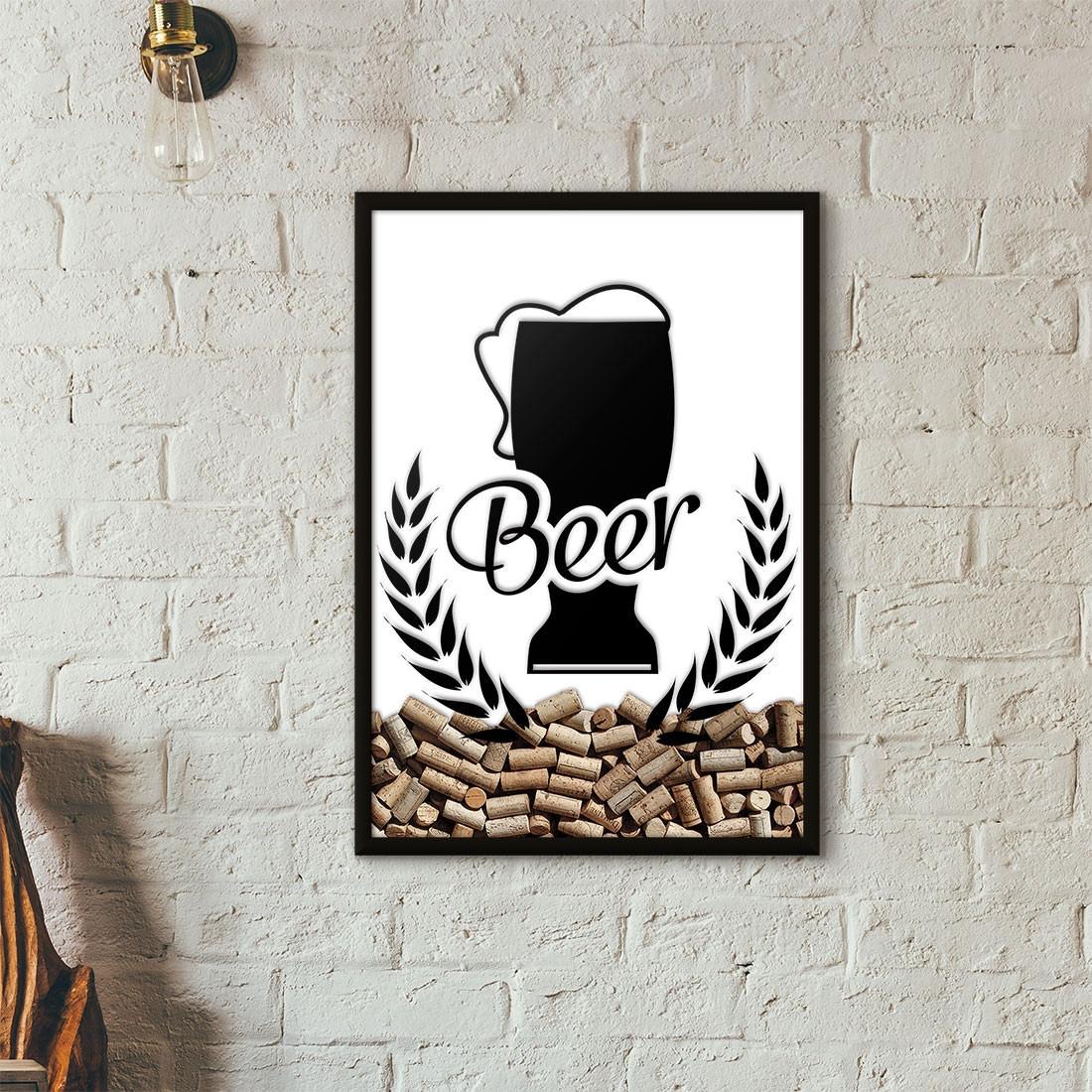 Quadro Porta Tampinhas de Cerveja - Tulipa Beer - Branco