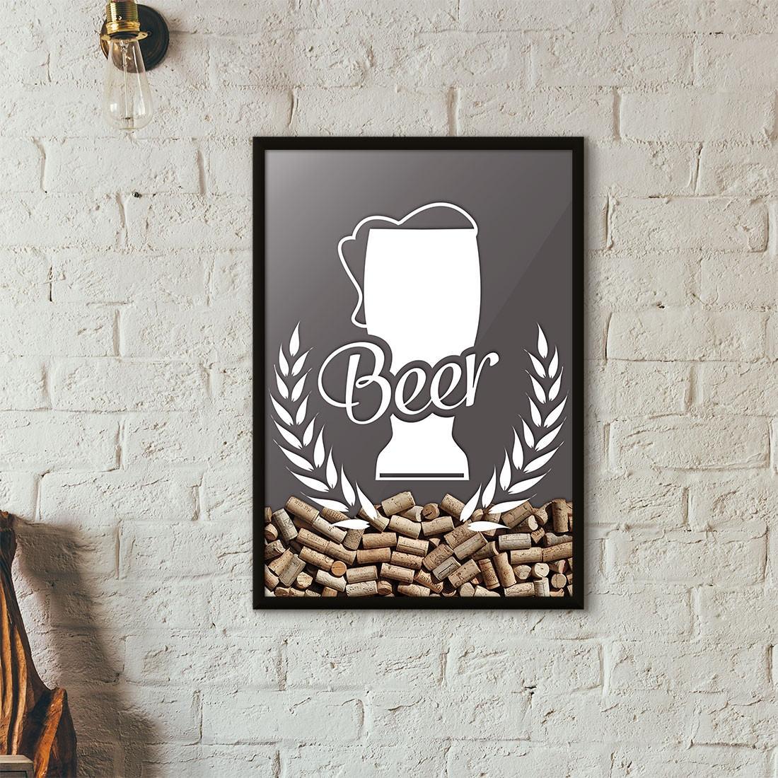 Quadro Porta Tampinhas de Cerveja - Tulipa Beer - Cinza