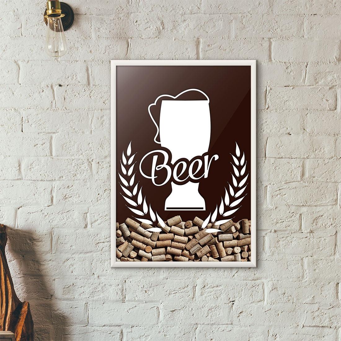 Quadro Porta Tampinhas de Cerveja - Tulipa Beer - Marrom