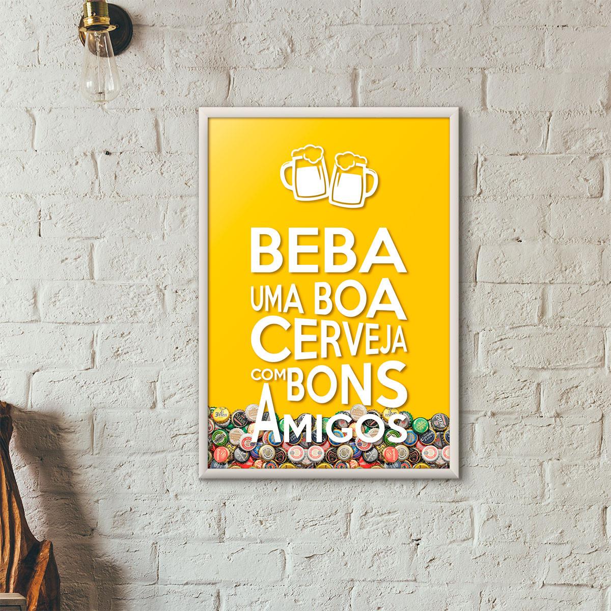 """Quadro Porta Tampinhas de Cerveja - """"Beba Uma Boa Cerveja Com Bons Amigos"""" (Moldura Branca) - Fundo Amarelo"""