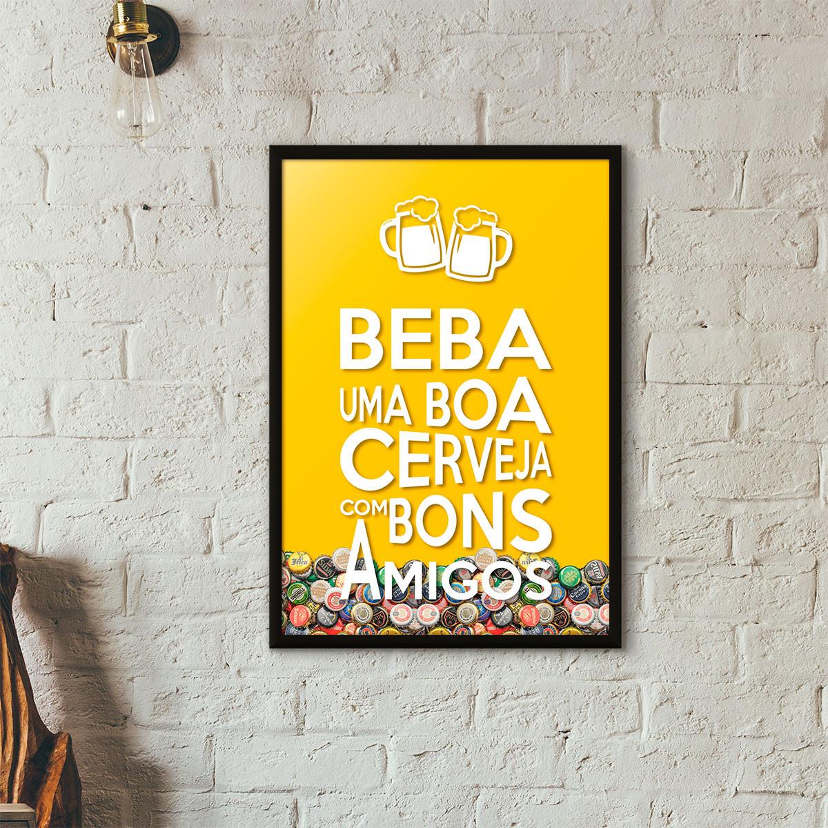 """Quadro Porta Tampinhas de Cerveja - """"Beba Uma Boa Cerveja Com Bons Amigos"""" (Moldura Preta) - Fundo Amarelo"""