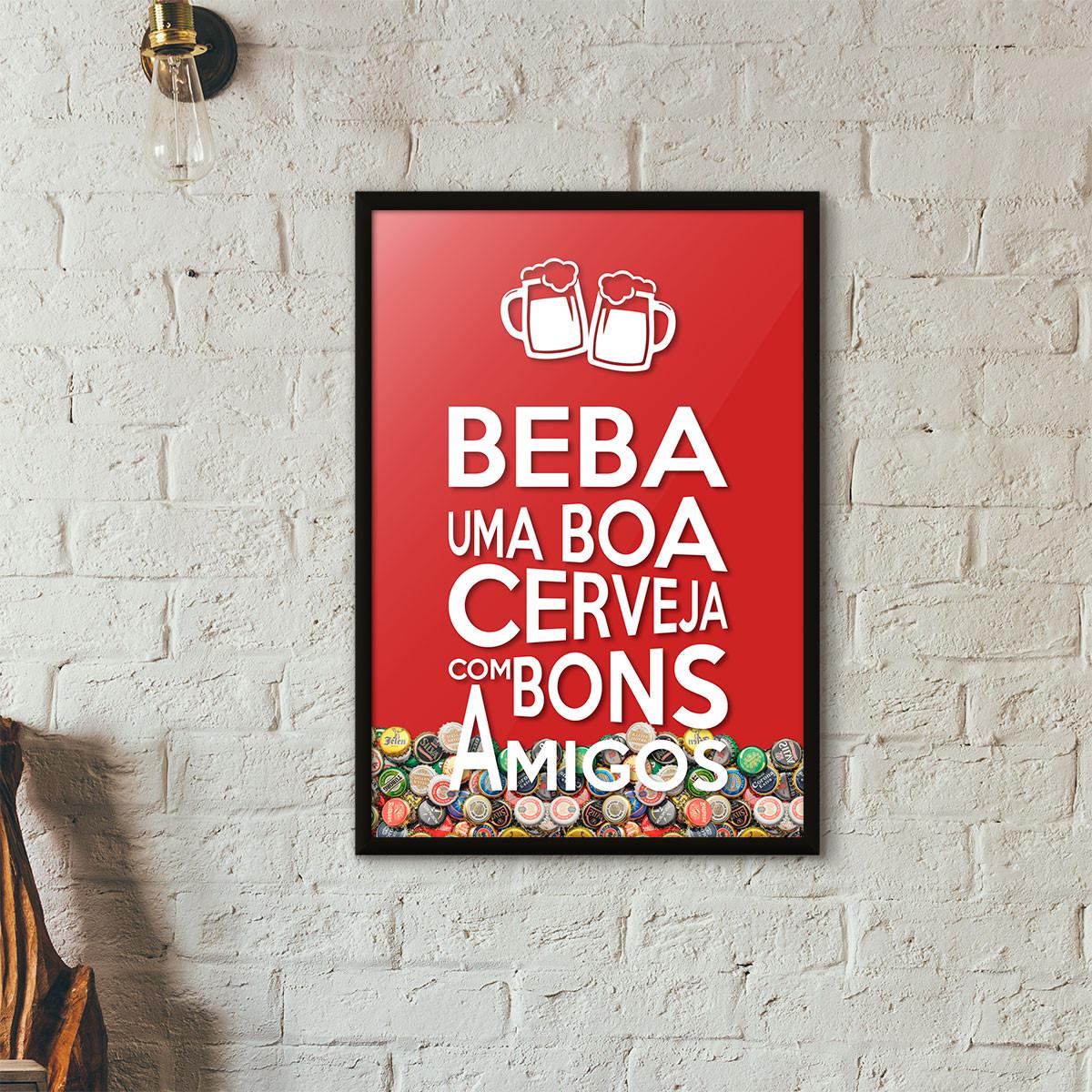 """Quadro Porta Tampinhas de Cerveja - """"Beba Uma Boa Cerveja Com Bons Amigos"""" (Moldura Preta) - Fundo Vermelho"""