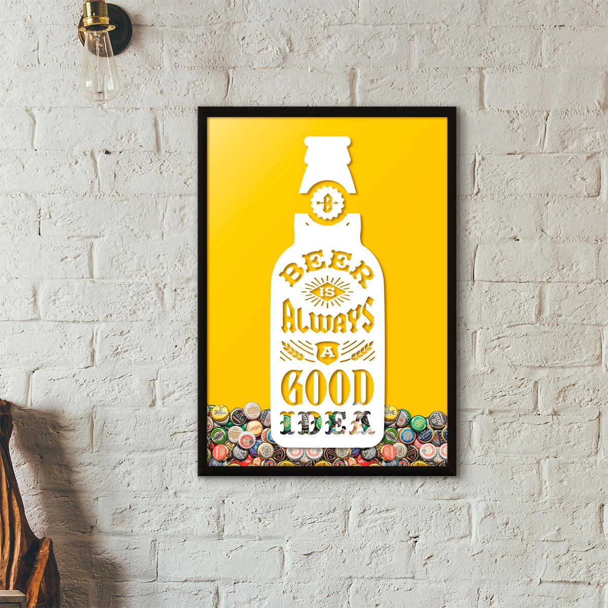 """Quadro Porta Tampinhas de Cerveja - """"Beer Is Always a Good Idea"""" (Moldura Preta) - Fundo Amarelo"""