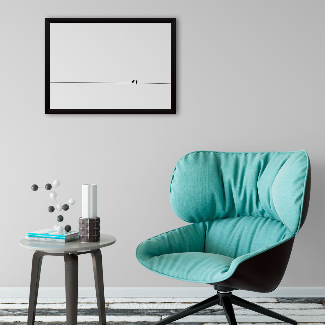 Quadro Decorativo Preto e Branco Minimalista Passarinhos