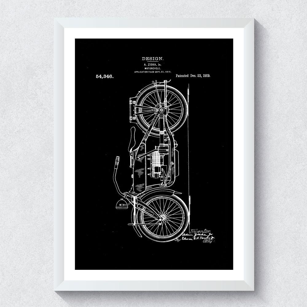 Quadro Decorativo Projeto de Motocicleta