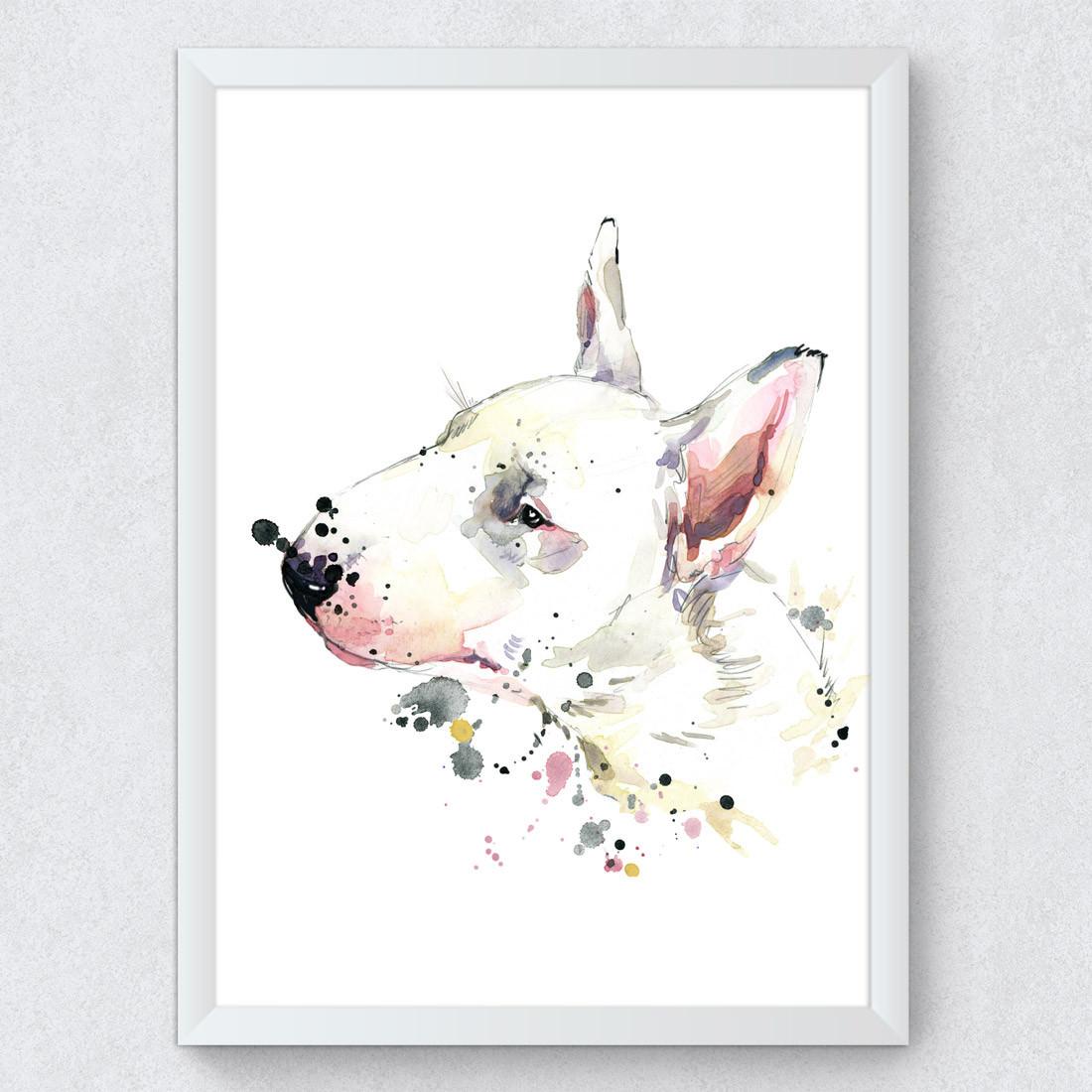 Quadro Decorativo Bull Terrier cachorro Aquarela