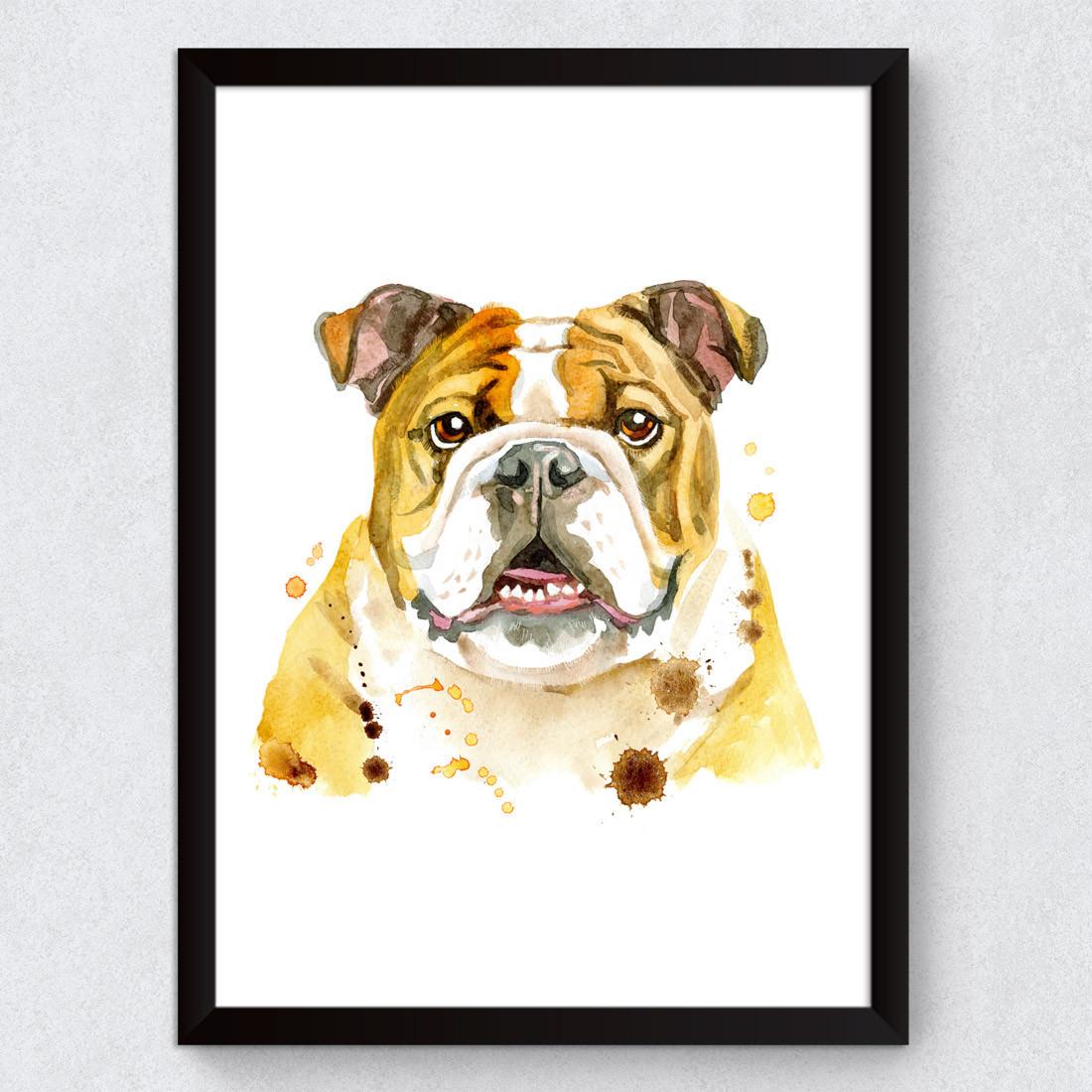 Quadro Decorativo cachorro Bulldog Inglês Aquarela