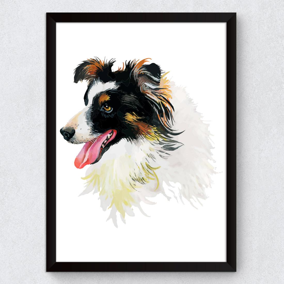 Quadro Decorativo Dog Border Collie Aquarela