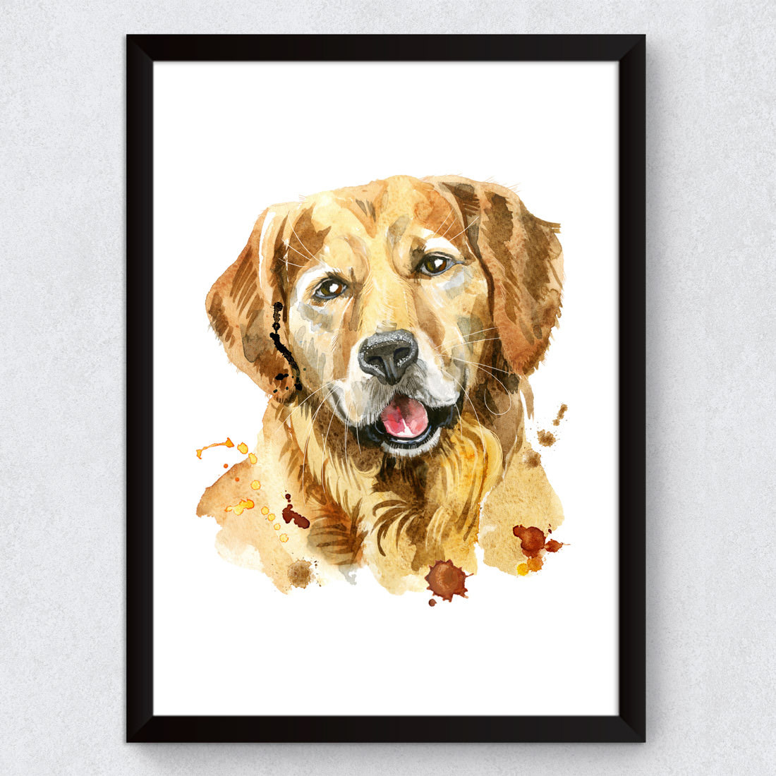 Quadro Decorativo Cachorro Golden Retriever Aquarela