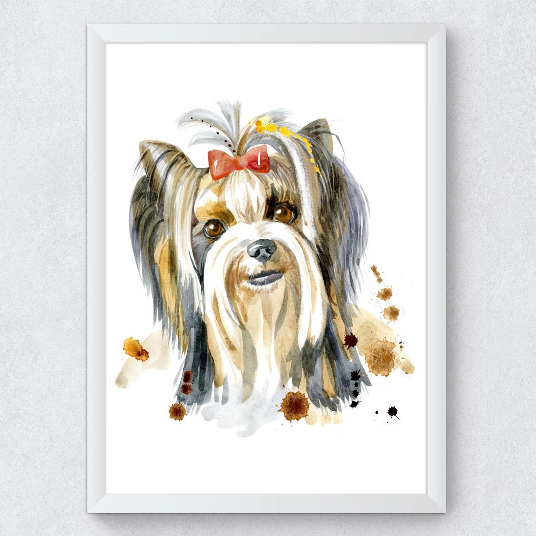 Quadro Decorativo Yorkshire Terrier Aquarela
