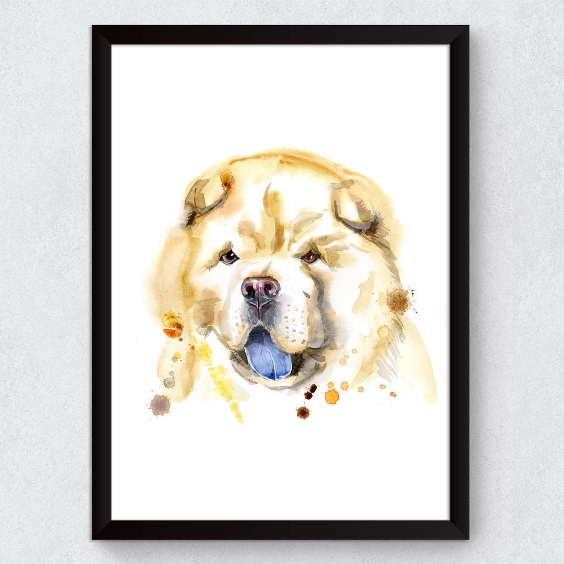 Quadro Decorativo Dog Chau Chau Aquarela