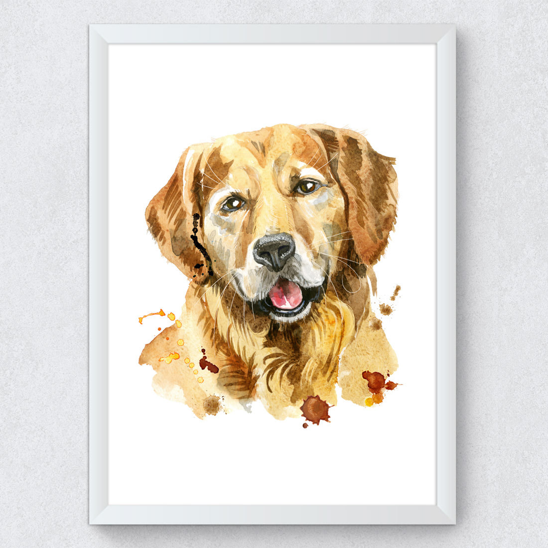 Quadro Decorativo Raca Golden Retriever Aquarela