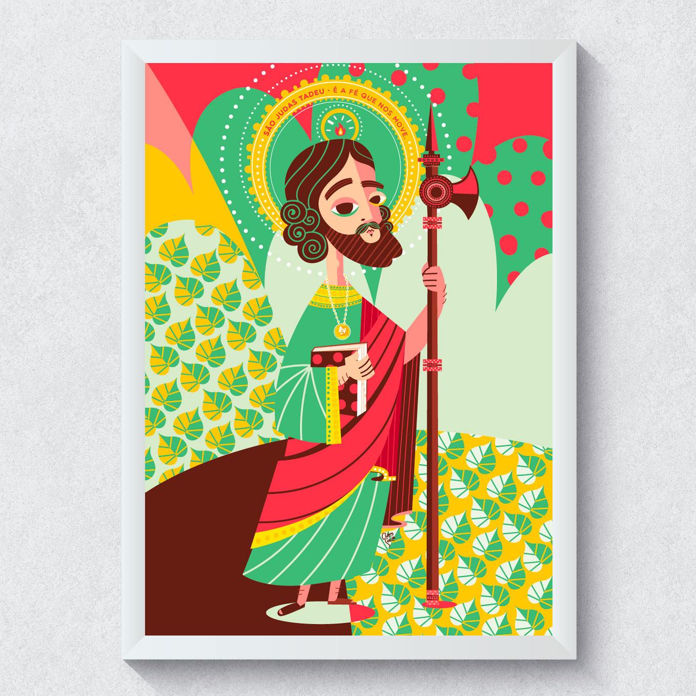 Quadro Decorativo São Judas Tadeu Moldura Branca