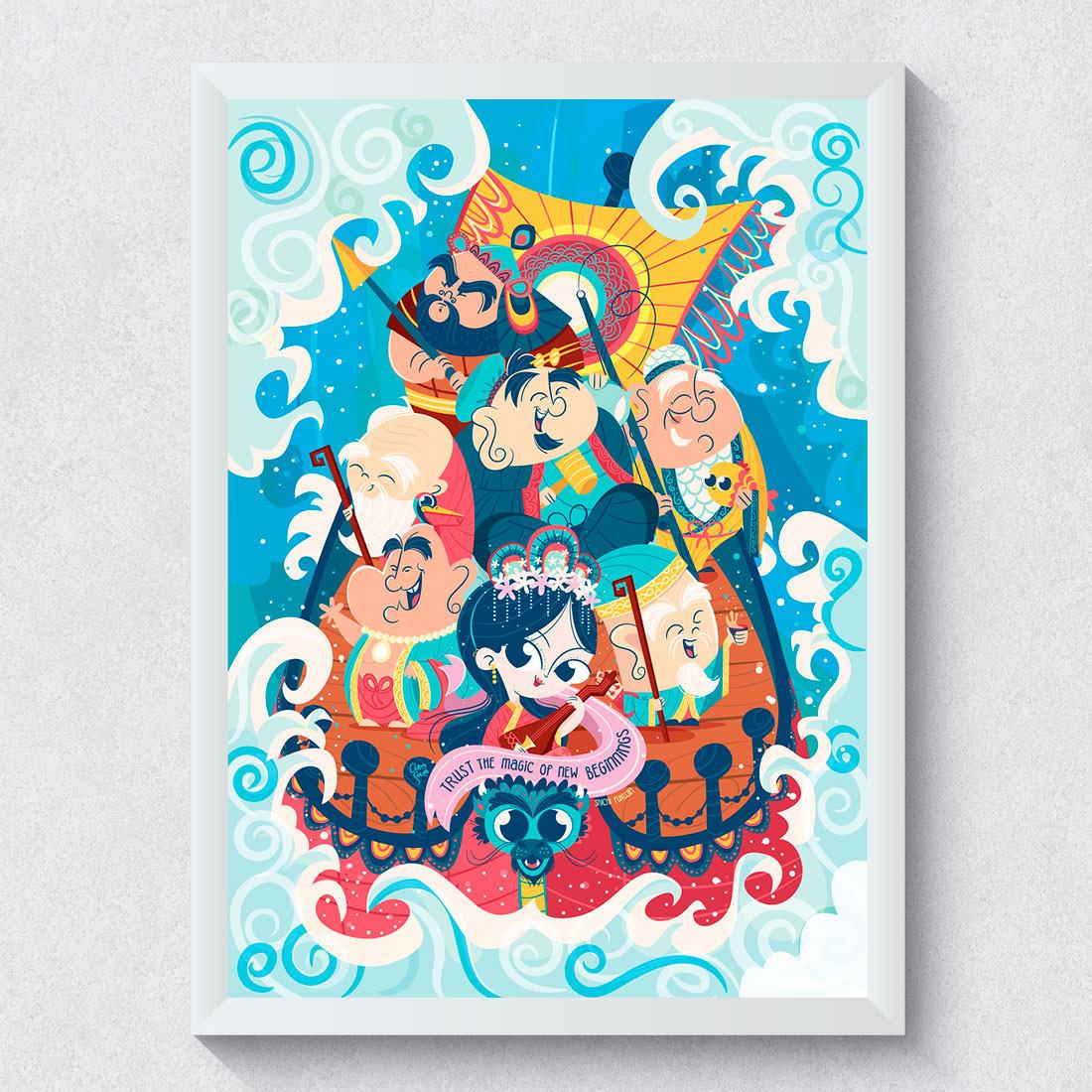 Quadro Decorativo 7 Deuses da Sorte